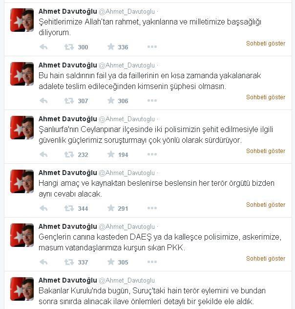 Başbakan Davutoğlu'ndan 'Suruç' Ve 'Ceylanpınar' Açıklaması