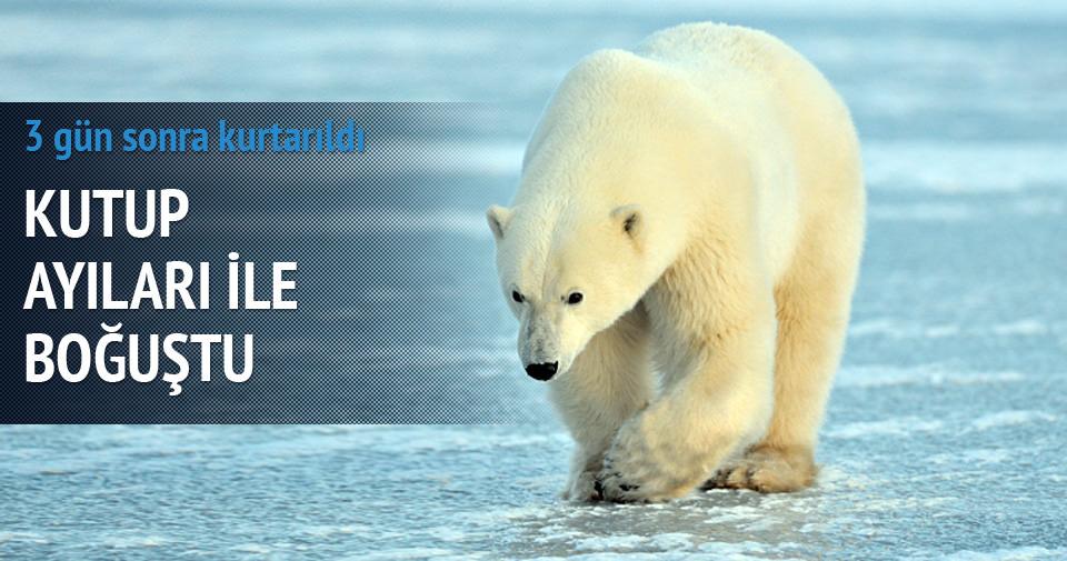 Kutup ayılarıyla burun buruna 3 gün geçirdi