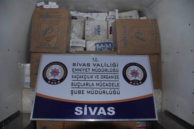 Sivas'ta 49 Bin 600 Paket Kaçak Sigara Ele Geçirildi