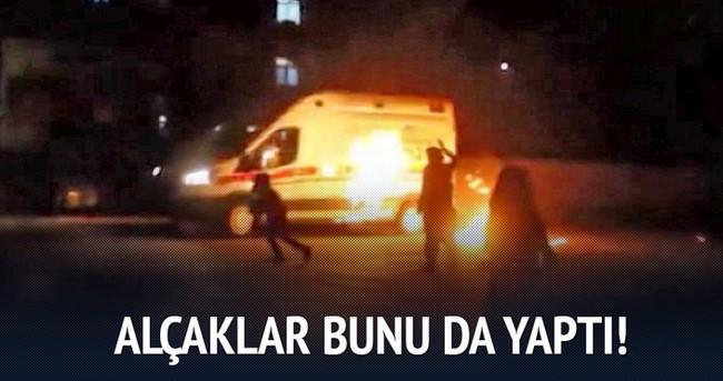 Ambulansa molotof bombalarıyla böyle saldırdılar