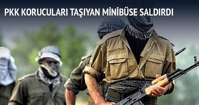 PKK korucuları taşıyan minibüse saldırdı