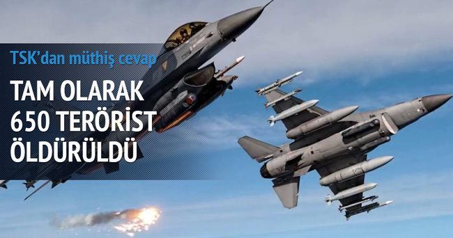 Operasyonlarda toplam 650 terörist öldürüldü
