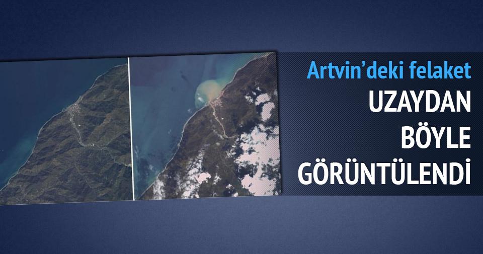Artvin'deki felaket uydudan böyle görüldü