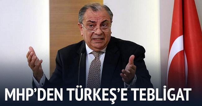MHP Türkeş'e tebligatı gönderdi