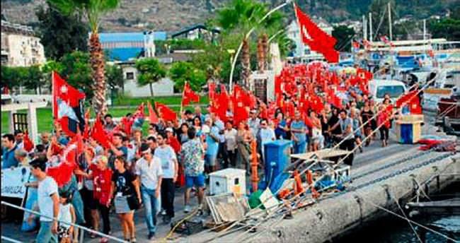 Fethiye'de terör olaylarına isyan