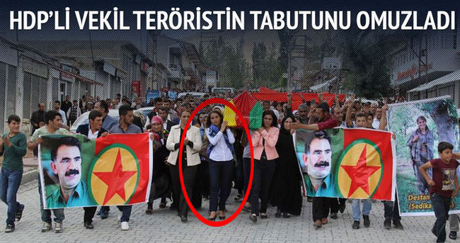 HDP'li vekil Tuba Hezer PKK'lı teröristin tabutunu taşıdı