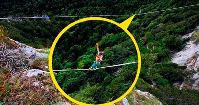 İki dağ arası 120 metrelik ipte yürüdü