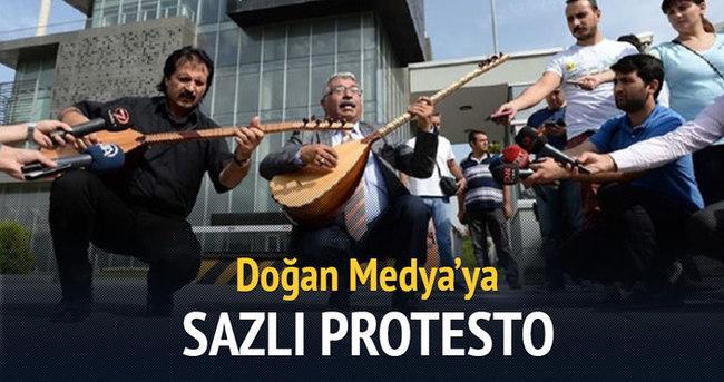 Doğan Medya'ya sazlı protesto