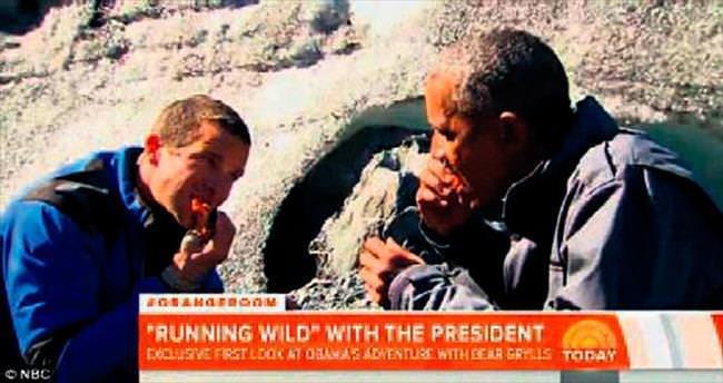 Obama, ayının avladığı somon balığını yedi