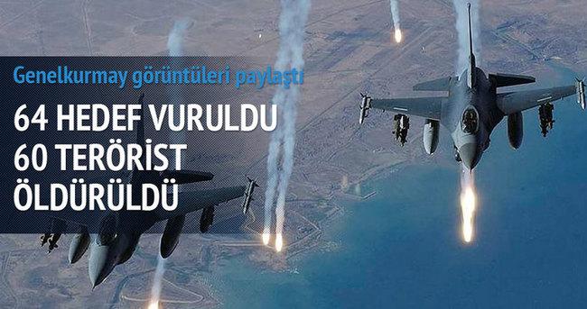 PKK'ya ait 64 hedef bombalandı; 60 terörist öldürüldü
