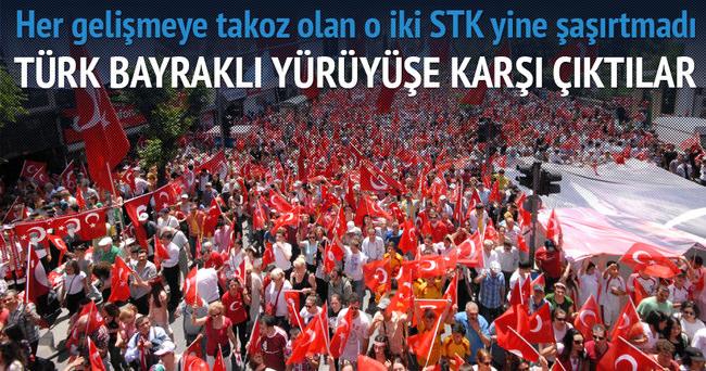 Türk Bayraklı protestodan rahatsız oldular