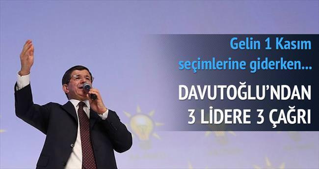 Davutoğlu'ndan 3 lidere 3 çağrı