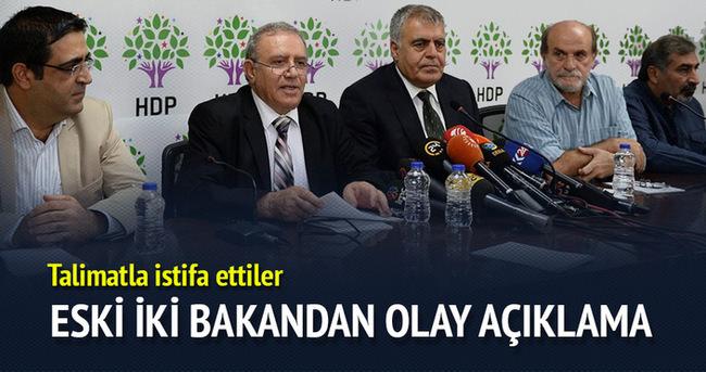 HDP'li 2 bakan istifa etti