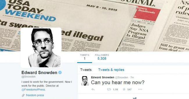 Snowden Twitter'da saatler içinde 1 milyon takipçiye yaklaştı