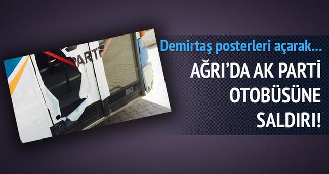 Ağrı'da AK Parti seçim otobüsüne taşlı saldırı