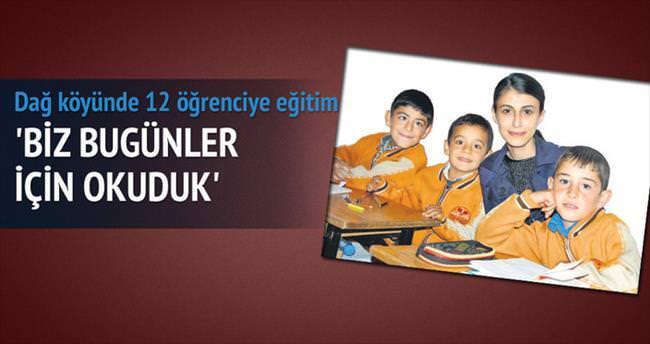 Dağ köyü okulunda 12 öğrenciye eğitim