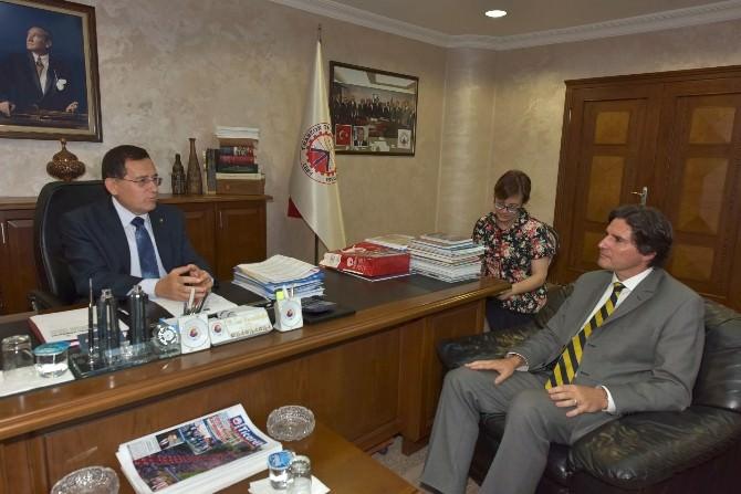 Avrupa Birliği Türkiye Delegasyonu Müsteşarı Vassallo'dan Ttso Başkanı Hacısalihoğlu'na Ziyaret