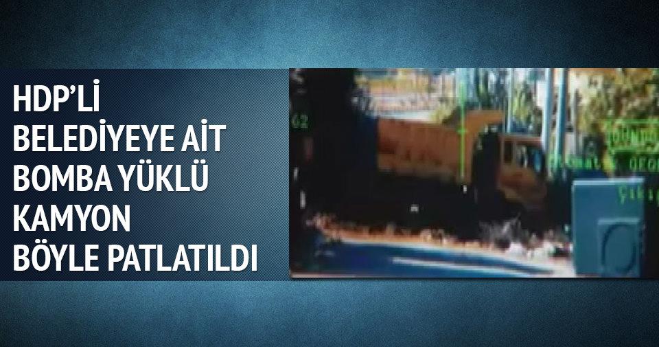 HDP'li belediyeye ait bomba yüklü kamyon böyle patlatıldı