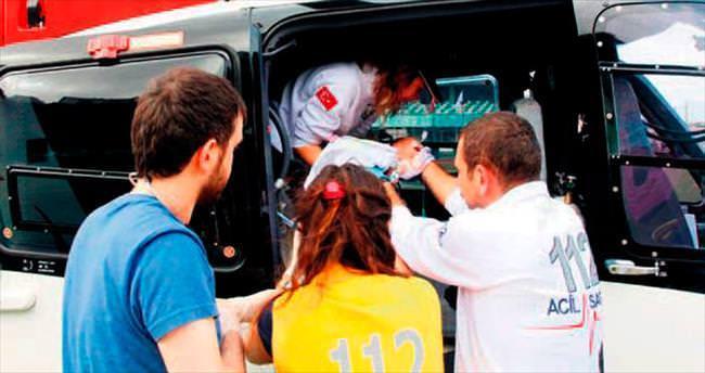 Ambulans helikopter 9 günlük bebek için uçtu