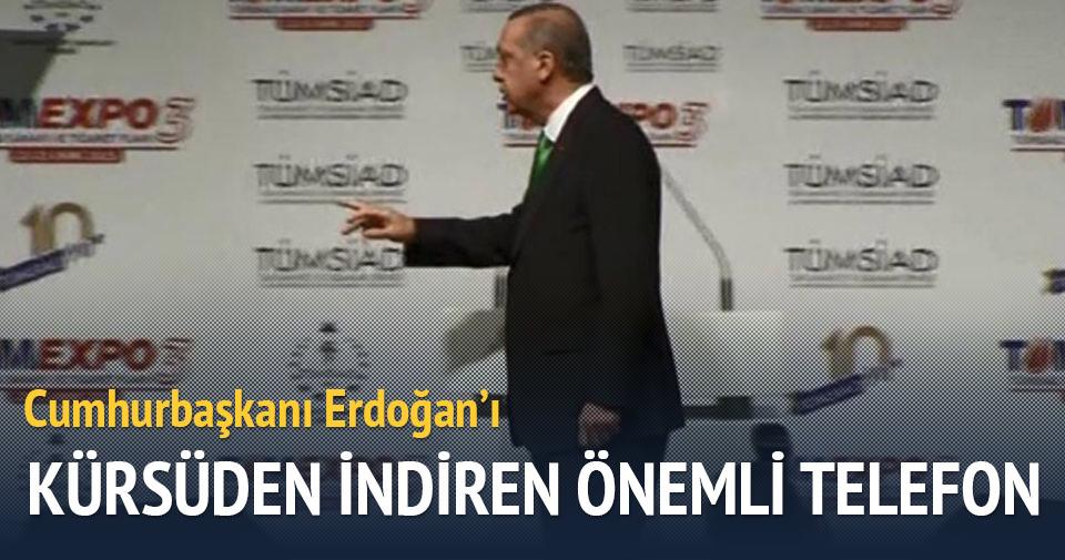 Cumhurbaşkanı Erdoğan'ı kürsüden indiren önemli telefon