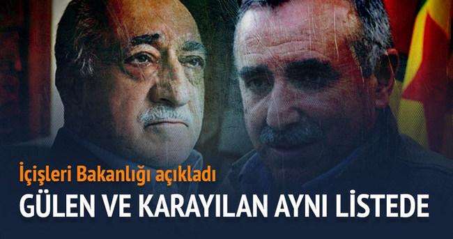 Fethullah Gülen ve Murat Karayılan aynı listede