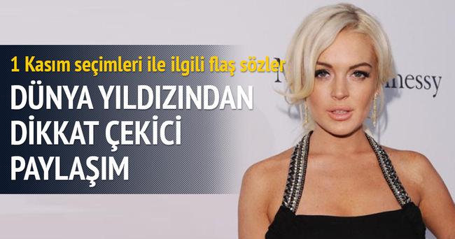 Lindsay Lohan'dan seçimle ilgili dikkat çeken paylaşım