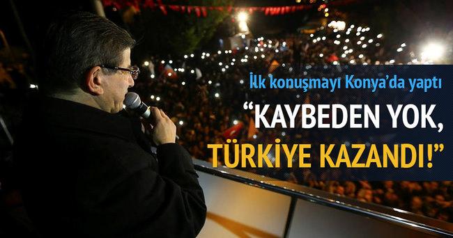 Başbakan Ahmet Davutoğlu Konya'da teşekkür konuşması yaptı