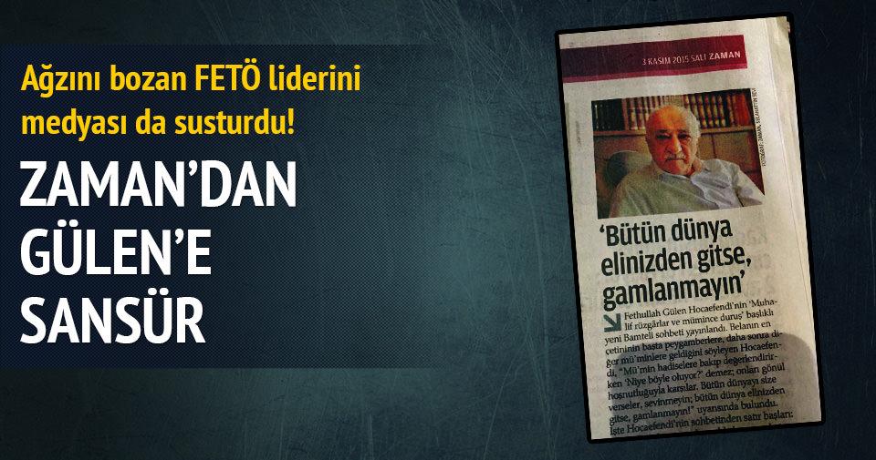 Zaman gazetesinden Fetullah Gülen'e sansür