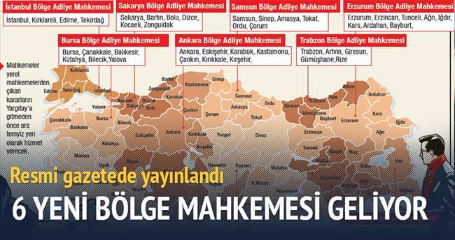 6 yeni bölge mahkemesi kuruldu