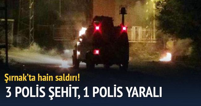 Şırnak'ta polis aracına saldırı: 3 polis şehit, 1 polis yaralı