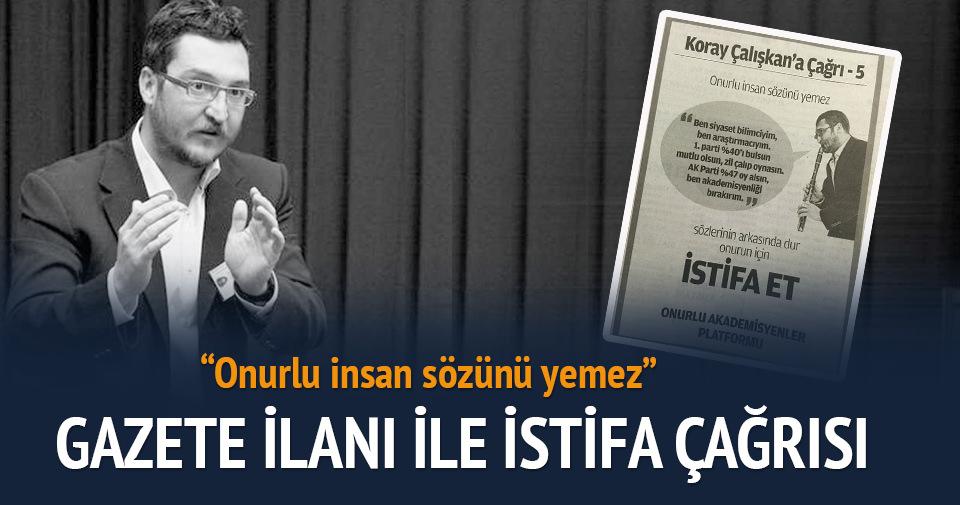 Koray Çalışkan'a gazete ilanı ile istifa çağrısı