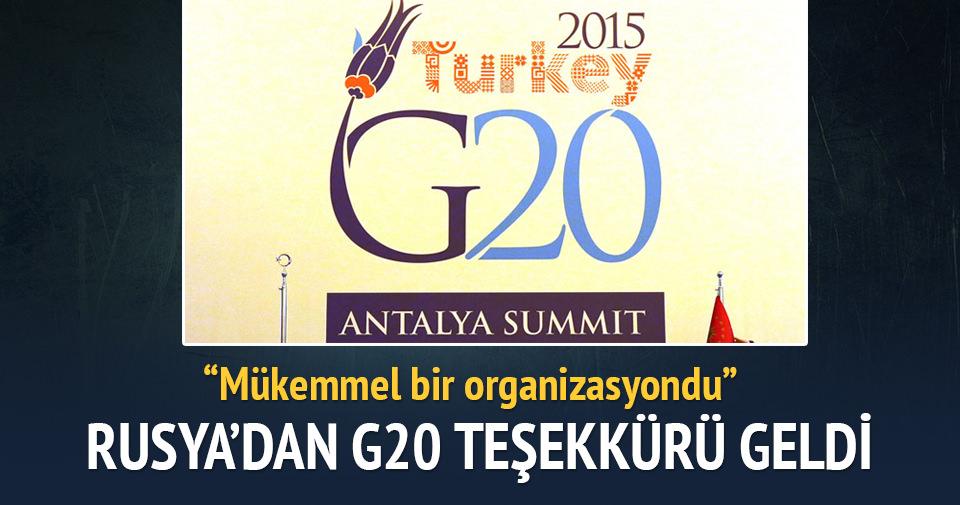 Rusya'dan Türkiye'ye G20 teşekkürü