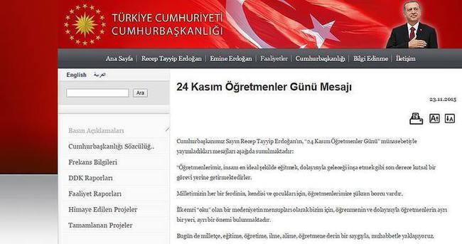 Erdoğan'dan 'Öğretmenler Günü' mesajı