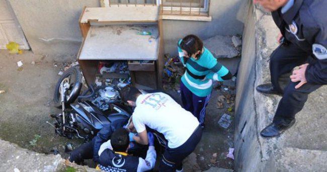 Gaza fazla yüklenince apartman boşluğuna girdi