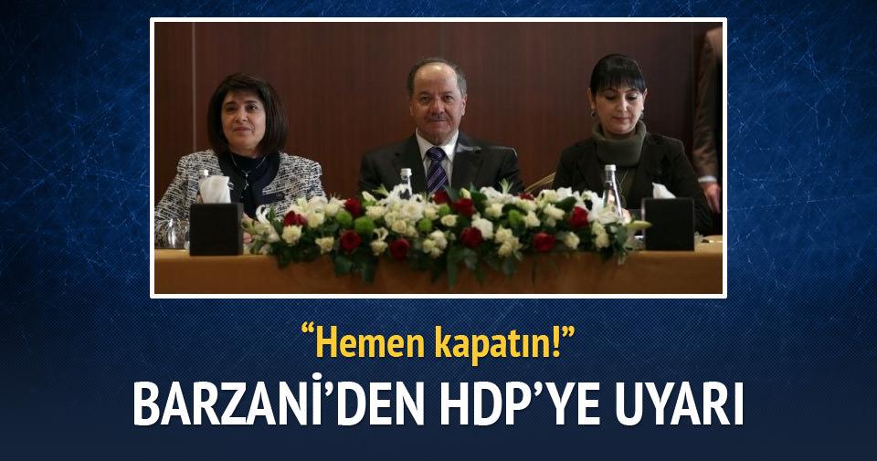 Barzani'den HDP'ye hendek uyarısı