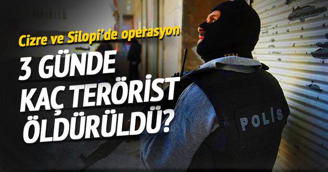 Cizre ve Silopi'de 3 günde kaç terörist öldürüldü?