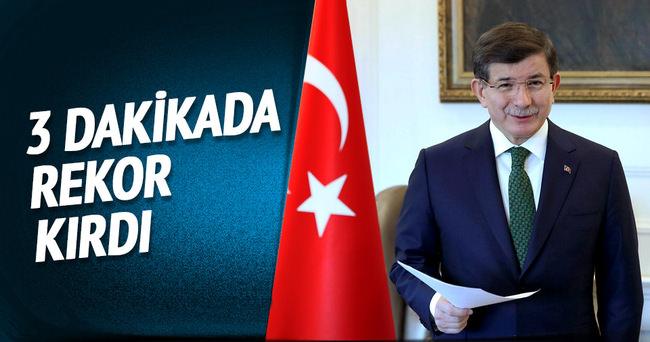 Davutoğlu 3 dakikada rekor kırdı