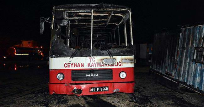 Adana'da PKK'lılar otobüs yaktı
