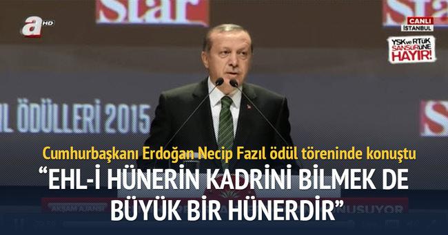 Cumhurbaşkanı Erdoğan Necip Fazıl ödül töreninde konuştu