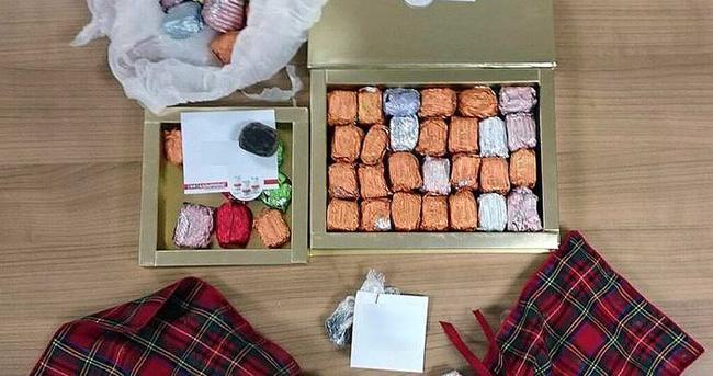 Çikolata kutusunun içinden uyuşturucu çıktı