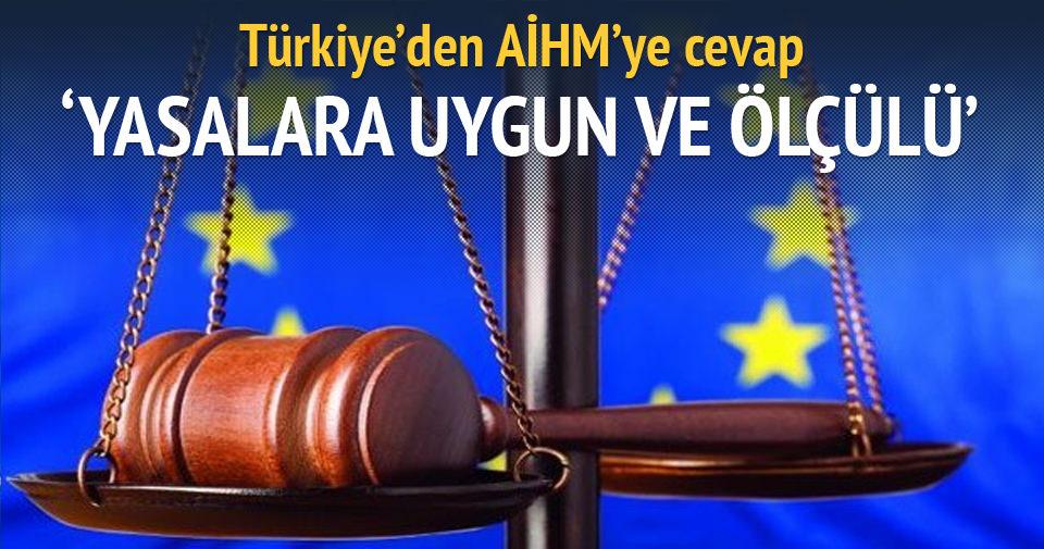 Türkiye'den AİHM'ye cevap!