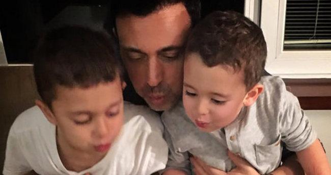 Mustafa Sandal çocuklarıyla pasta kesti