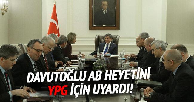 Başbakan Davutoğlu'nun AB heyetine YPG uyarısı