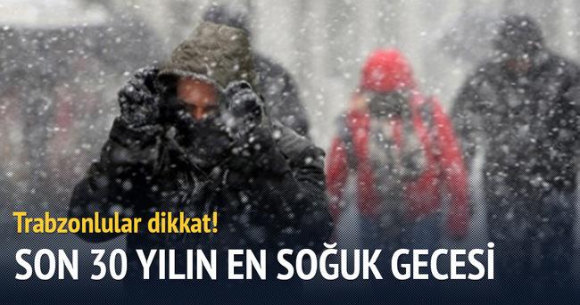 Trabzon'da son 30 yılın en soğuk gecesi yaşanacak