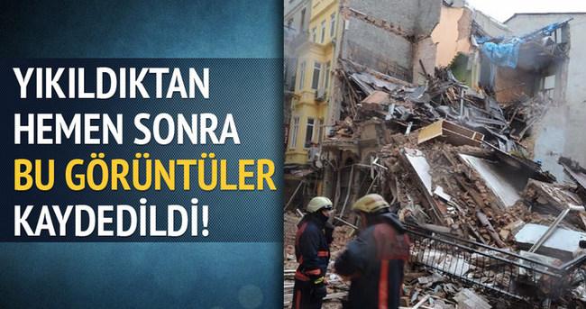 Beyoğlu'nda bina yıkıldıktan hemen sonra!