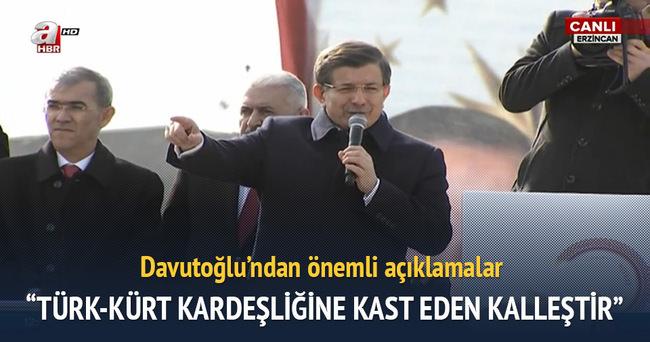 Başbakan Davutoğlu Erzincan'da düzenlenen törende konuştu