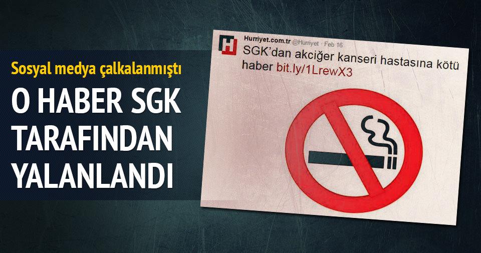 Hürriyet'in SGK sigara içenlerin kanser ilaçlarını ödemeyecek yalanı