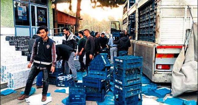 Osmaniye'de meyve kasalarında kaçak sigara
