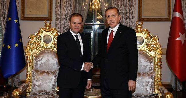 Cumhurbaşkanı Erdoğan, AB Konseyi Başkanı Tusk ile görüşüyor