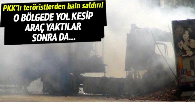 PKK'lı teröristler TIR yakıp polise saldırdı!